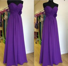 purple chiffon bridesmaid dress strapless bridesmaid by MJDRESS, $99.00