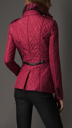 Leather Trim Quilted Jacket | Burberry