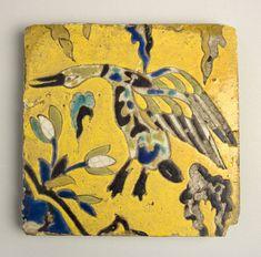 "Safavid Tile with Bird Motif, ca.17th century AD, Central Asia, H: 8.78"" (22.3cm) x W: 8.86"" (22.5cm)"