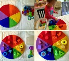Idee für bessere Feinmotorik mit Sortieren von Farben