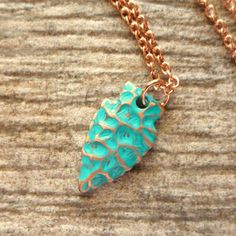 Rose Gold Arrowhead Charm Necklace, Teal Patina Arrowhead Pendant, Rose Gold Jewelry, Bohemian Necklace, Blue, Green, Boho, Tribal
