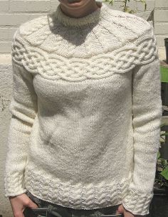 Free Pattern:: Cabled Yoke Pullover by Patons.