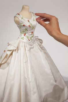Our miniature wedding dress for Susan Ruddick. Photograph by George Chinn.