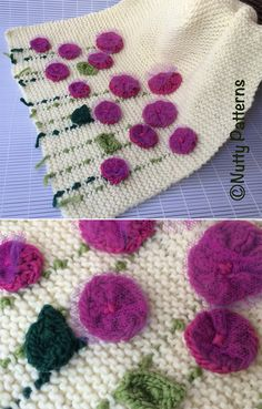 Projects To Sell Pattern for Easy Flower Bed Baby Blanket - Garter stitch baby blanket decorated with knit flowers trimmed with tulle and knit leaves. Designed by Nutty Patterns who allows you to sell the finished blankets with appropriate credit. Baby Knitting Patterns, Baby Patterns, Crochet Patterns, Hand Embroidery Videos, Embroidery Patterns, Knitting Socks, Knitting Stitches, Baby Blanket Crochet, Crochet Baby
