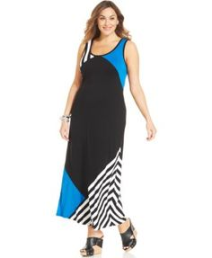 Style&co. Plus Size Colorblocked Maxi Tank Dress
