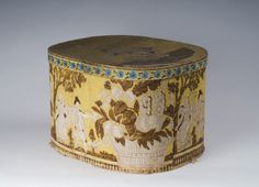 Wallpaper covered hat box, 1835