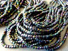 Vintage Black Iris 10/0 Faceted Glass Seed Beads by 1GRANDMA