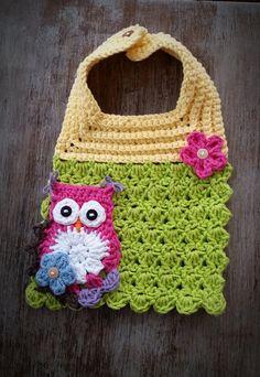 Crochet Baby Bib Baby Bib Crochet Owl Owl Bib Crochet by azek2000