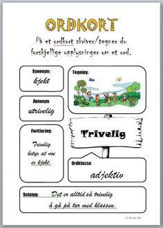 Ordkort – i arbeidet med nye ord School Subjects, Too Cool For School, English Vocabulary, Best Teacher, Primary School, Kids Learning, Language, Classroom, Teaching