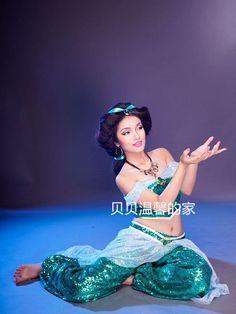 2015 Princesa Jasmine Aladdin Traje Mulheres Adulto Cosplay Trajes de Halloween Para As Mulheres Fantasia Vestido de Dança Do Ventre