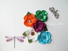 Field of flowers mini flowers set of 5 by PrincynParis on Etsy, $22.00