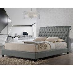 Jazmin Tufted Gray Modern Bed