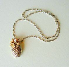 Vintage Jewelry Necklace Brooch Huge Silver & Gold Pineapple 1980's Monet. $15.50, via Etsy.