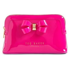 Women's Ted Baker London Jamario Bow Cosmetics Case ($32) ❤ liked on Polyvore featuring beauty products, beauty accessories, bags & cases, fuchsia, ted baker makeup bag, cosmetic purse, toiletry bag, makeup bag case and makeup purse