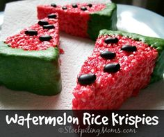 This Watermelon Rice Krispies recipe is perfect for a party, BBQ or family gathering! Such a great dessert idea for the summer.