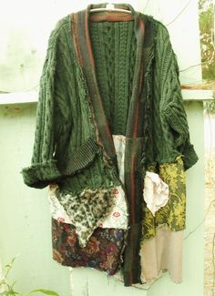Funky/BoHo/Patched/Sweater Coat/Upcycled Cable Knit by SheerFab