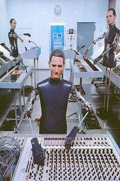 Kraftwerk robot at Kling Klang Studio Robot Face WasRalf Htter Fritz Hilpert Florian schneiderdsseldorf german germany germany music robots technology 1990 musically electropop popmusic robot Trip Hop, 80s Music, Music Icon, Edm, Florian Schneider, Tv Movie, Science Fiction, Ms Gs, Bands