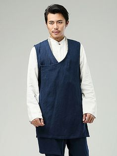 Blue Commoner Chinese Style Men's Vest via Asia-Sale Best Tai Chi, Kung Fu Clothing