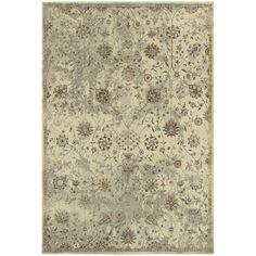 Distressed Traditional Floral Beige/ Grey Area Rug (7'10 x 10'10)