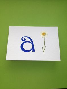 Handmade Alphabet Letter Card Blue with Pressed Daisy Flower £5.00