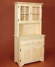 AMISH Unfinished Solid Pine CORNER HUTCH China Cabinet Country ...