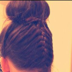 Upside down French braid w/ sock bun;)