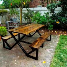 Hammer & Fox Home Furnishings' industrial picnic tables make a great addition to any deck, patio, or backyard! With its solid forged metal frame, rugged reclaimed wood dining surface and benches with a durable exterior finish this piece is truly the last picnic table you will ever have to purchase. #hammerandfoxhomefurnishings #reclaimed #reclaimedwood #wood #oldwood #design #diy #Table #Diningtable #Picnictable #Metal #decor #modern #Industrial #Etsy #handmade