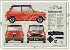 Innocenti Cooper 1300 Export 1973-75 classic car portrait print