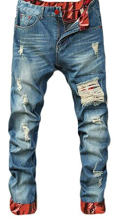 a6b2c015e47 Amazon.com - Tomblin Men s Ripped Skinny Distressed Destroyed Straight Fit  Zipper Biker Jeans With Holes (W38