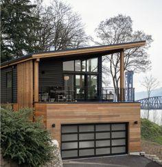 Modern House Plans, Modern House Design, Modern Deck, Modern Garage, Small Modern Home, Modern Homes, Modern House Exteriors, Modern Wooden House, Modern Cabins