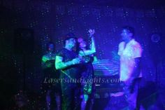 catching laser beams in 3D from fog machine at party in BlissLights Bliss 15 Laser Starfield Projector lighting effects