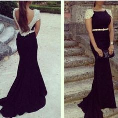 ea556bb60c815 Women s Black Sleeveless Prom Dress Backless Long Beaded Evening Gowns  V-Back Homecoming Dress