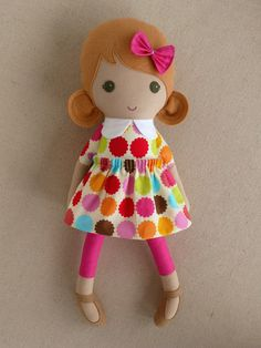 Fabric Doll Rag Doll Blond Haired Girl in Colorful by rovingovine