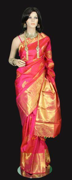 Rose Pink Kanchi Motif Kanjeevaram Saree