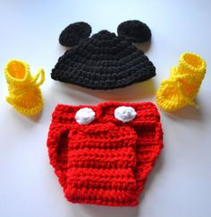 Baby Mickey Mouse outfit baby crochet hat newborn by JacqsCrafts, $30.00