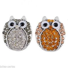10PCs Regular Mixed Owl Fashion Snap Buttons Crystal Rhinestone Jewelry DIY