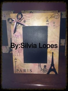 porta retrato com tema Paris | Sílvia Lopes | Elo7