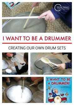 After reading the book I Want to Be a Drummer, our preschoolers found ways to make their own drum sets using items we already had in the classroom. A fun circle time activity from Teaching 2 and 3 Year Olds.