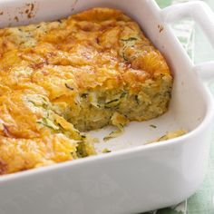 """Zucchini Cornbread Casserole I """"This is a favorite side dish with my family I'm so glad I found it! It's so easy to prepare and it's delish! Zucchini Side Dishes, Veggie Side Dishes, Vegetable Dishes, Side Dish Recipes, Main Dishes, Zuchinni Recipes, Vegetable Recipes, Vegetarian Recipes, Cooking Recipes"""