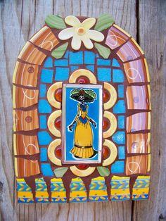 Day of the Dead Catrina Mosaic Tile Nicho by NatalieBacaStudio, $95.00