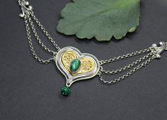 Ursula, Pendant Necklace, Accessories, Jewelry, Gold Paint, Malachite, Gemstones, Dirndl, Heart