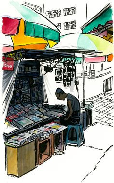 Paintings of people in Hong Kong street markets. on Behance