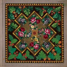 Pillow or carpet pattern with roses, violets, forget-me-not, primulas, berries and acorns, 19th century