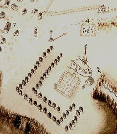Church (2), wayside cross, and cemetery (4) in Port-Royal in 1686. Detail of map by  Jean-Baptiste-Louis Franquelin © Bibliothèque nationale de France