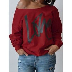 Lovely Leisure Round Neck Long Sleeves Letters Printing Purplish Red Sweatshirt Hoodie Women's Best Online Shopping - Offering Huge Discounts on Dresses, Lingerie , Jumpsuits , Swimwear, Tops and More. Jeans Skirt Outfit, Boat Neck Tops, Winter Fashion Casual, Pullover, Hoodies, Sweatshirts, Long Sleeve Sweater, Sleeves, Cotton Style