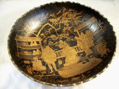 Antique Papier Mache Bowl - Oriental Court Scenes - 19th Century from bagatelle on Ruby Lane