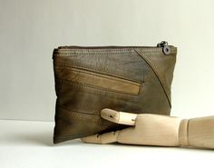 Clutch bag made from upcycled leather jacket. https://www.etsy.com/shop/karenlukacs