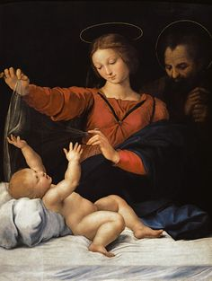 (Raphael) Raffaello Santi - Holy Family, so-called Madonna del bicycle. Copy of the missing painting.