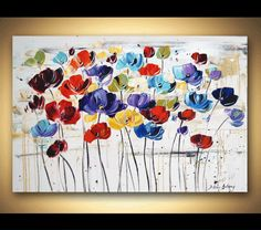 """Painting 36"""" Flower Poppys Original painting textured wall art from jolina anthony fast and free shipping"""