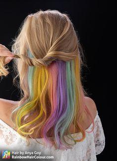Anya Goy on TikTok - Anya Goy on TikTok Pastel Hidden Rainbow Hair Video Tutorial. Hair by Anya Goy. Balayage Ombré, Hair Color Balayage, Hair Color Purple, Hair Dye Colors, Hidden Hair Color, Hidden Rainbow Hair, Underlights Hair, Pastel Hair, Pastel Rainbow Hair